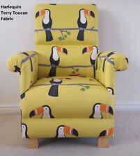 Harlequin Scion Terry Toucan Fabric Adult Chair Mustard Armchair Nursery Birds