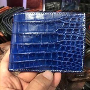 Double Side Handmade Genuine Alligator Crocodile Leather Men's Bifold Wallet