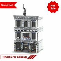 MOC Modular Police Station Micro Office Scene City Model Building Bricks Kid Toy