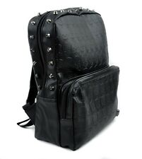 Black Vinyl Skulls Spikes Studs School Backpack Goth Travel Bag Alternative Emo6