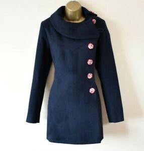 GONSALVES & HALL 10 Midnight Blue Asymmetric Floral Button Westwood-esque Coat