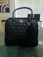 Betsy Johnson Purse Black & White Quilted Hearts  Shoulder Bag
