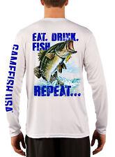 Men's UPF 50 Long Sleeve Microfiber Performance Fishing Shirt Bass Repeat