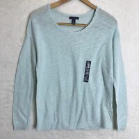 GAP Women's SMALL loose NWT Powder Blue Long Sleeve Sweater Thin Knit Pullover