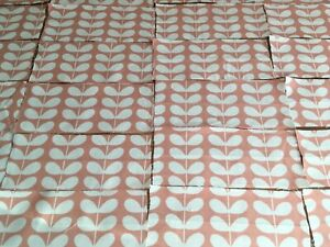 Orla Kiely Tiny Stem Blush Pink bundle 21 small pieces off cuts remnants cotton