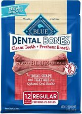 NEW BLUE Dental Bones Adult Regular Dental Chew Dog Treat 12 oz *READ*