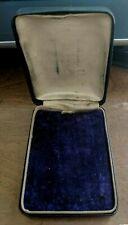 "Antique Vintage Black Purple Pin Brooch Necklace Jewelry Box 3 1/4"" x 2 1/2"" #DD"