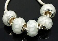 Lots 10 pcs Lampwork  Glass Silver Core Beads Fit European Charm Bracelet DIY