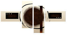 """BROWN CREAM CIRCLE ABSTRACT CANVAS WALL ART PICTURE SPLIT 4 PANEL 59"""" (150cm)"""