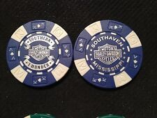 """Harley Poker Chip (NEW DESIGN Blue & White) """"Southern Thunder"""" Southaven MS"""