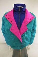 Vintage Fera Skiwear Shiny Green & Pastel Down Filled Ladies Ski Jacket Size 12