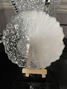 White & silver Set Of 4 Coasters Resin Handmade