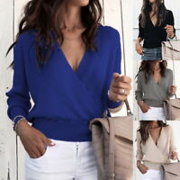 Women's V-Neck Sexy Long Sleeve Wrap Front Loose Sweater Pullover Jumper Tops