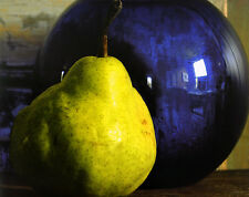 Adele Gold Pear with Blue Vase Poster Art Print Picture 40x50cm