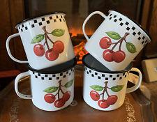 Mary Engelbreit Cherries Enamel Mugs (4) 2000
