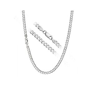 "Mens Curb Chain Necklace Sterling Silver 925 4mm  16 18 20 22 24"" Inch"