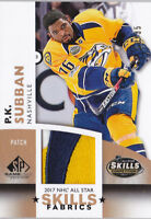 17-18 SP Game Used P.K. Subban /35 PATCH All-Star Skills Fabrics Predators 2017