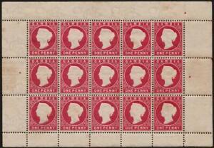 GAMBIA: Queen Victoria 1d Crimson Block of 15 - Full Margins (37608)
