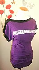 Maurices Top shirt Blouse Womens Size S Small Stretch purple Black Ruched EEUC