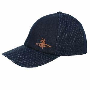 VIVIENNE WESTWOOD NAVY LASER CUT DENIM BASEBALL CAP