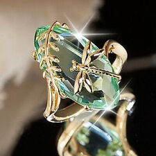 Fashion Women Olive Green Crystal Dragonfly Ring Wedding Jewelry Gifts Size 6-10