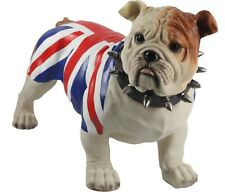 More details for 54.5cm british bulldog union jack flag spiked collar large standing statue