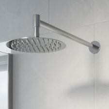 Bathroom Wall Mounted Slimline Chrome Round Drencher Fixed Shower Arm Head
