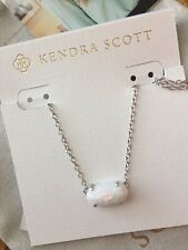 Kendra Scott Ever Rhodium White Kyocera Opal NWT Necklace w/Pouch