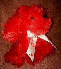 "Dan Dee Plush Red Furry Puppy Dog Soft Stuffed Animal Heart Bow 7"" Toy Valentine"