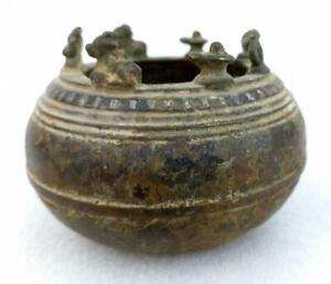 Antique Old Rare Bronze Hand Carved Hindu Idon Nandi Shiv Linga Holy Worship Pot