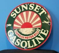 VINTAGE SUNSET GASOLINE PORCELAIN OIL SUNRISE SERVICE STATION PUMP PLATE SIGN