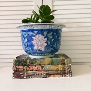 Vintage Plant Pot Chinoiserie Oriental Style House Decorative Ceramic Blue