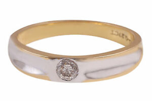 0.27 Cts Round Brilliant Cut Natural Diamond Unisex Band Ring In Solid 18K Gold
