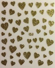 Nail Art 3D Decal Stickers Gold Glittery Hearts Valentine's Day