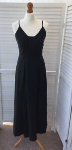 ALEX & CO Maxi Black Long Strappy Dress Lined Size 8 100% Silk Outer Adjustable