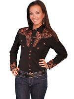 Scully Western Women's Polyester L/S Floral Stitch Western Shirt PL-654