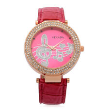 DESIGNER STRAWBERRY RED MUSIC NOTES MUSIC LOVER WATCH AUSTRIAN CRYSTALS