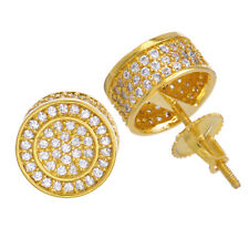 Men's Iced Gold Plated CZ Micro Pave 10 mm 3D Round Screw Back Earrings BE 038 G
