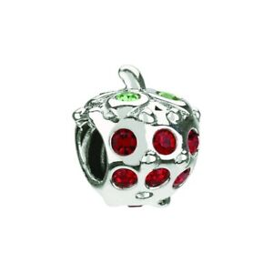 Chamilia Strawberry Bead Sterling Silver Red & Green Crystals JB-34 NEW