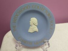 Wedgwood Collectors Society Charter Member Blue Jasperware Tray Gold Lettering