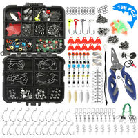 188pcs Fishing Tackle Box Kit Set Accessories of Jig Pliers Hooks Swivels Beads