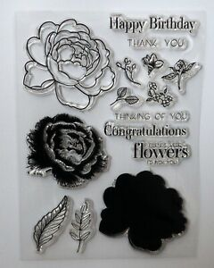 Layered Flowers and Sentiments Clear Stamp Set - Happy Birthday, Congratulations
