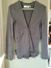 SPARROW SWEATER CARDIGAN Grey EUC S CUTE Fringe Long Sleeve WARM ANTHROPOLOGY