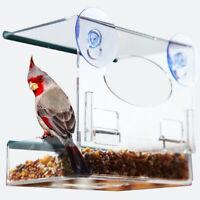 Bird Feeder Clear Window Feeding Squirrel Birdhouse With Suction Tray #3