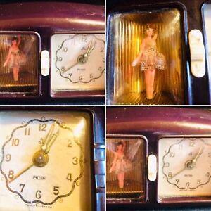 VINTAGE PETERS 1940'sGERMAN BAKELITE MUSICAL/DANCING BALLERINA TELEVISION CLOCK