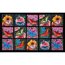 Butterfly Garden and Flowers Black Background Cotton Quilting Fabric Panel