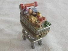 Rare Limoges Rochard Peint Main Trinket Box Grocery Cart Mint!