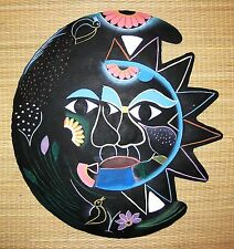 "HAND PAINTED METAL ART CARIBBEAN SUN AND MOON WALL HANGING 11 1/2"" ROUND DIAM."