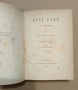 JANE EYRE Charlotte Bronte Currer Bell 1850 Tauchnitz Copyright Edition free S/H