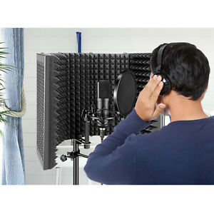 5 Panel Adjustable Microphone Shield Isolation Reflection Filter Vocal Booth